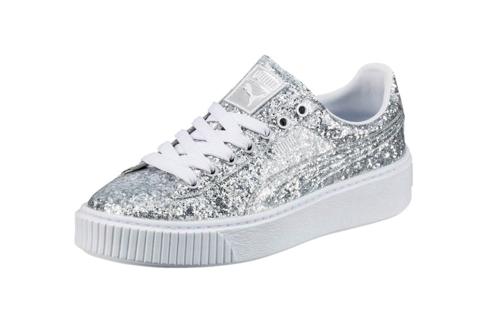 dbaa0cbcdfc53c PUMA Basket Platform Glitter in Silver and Gold