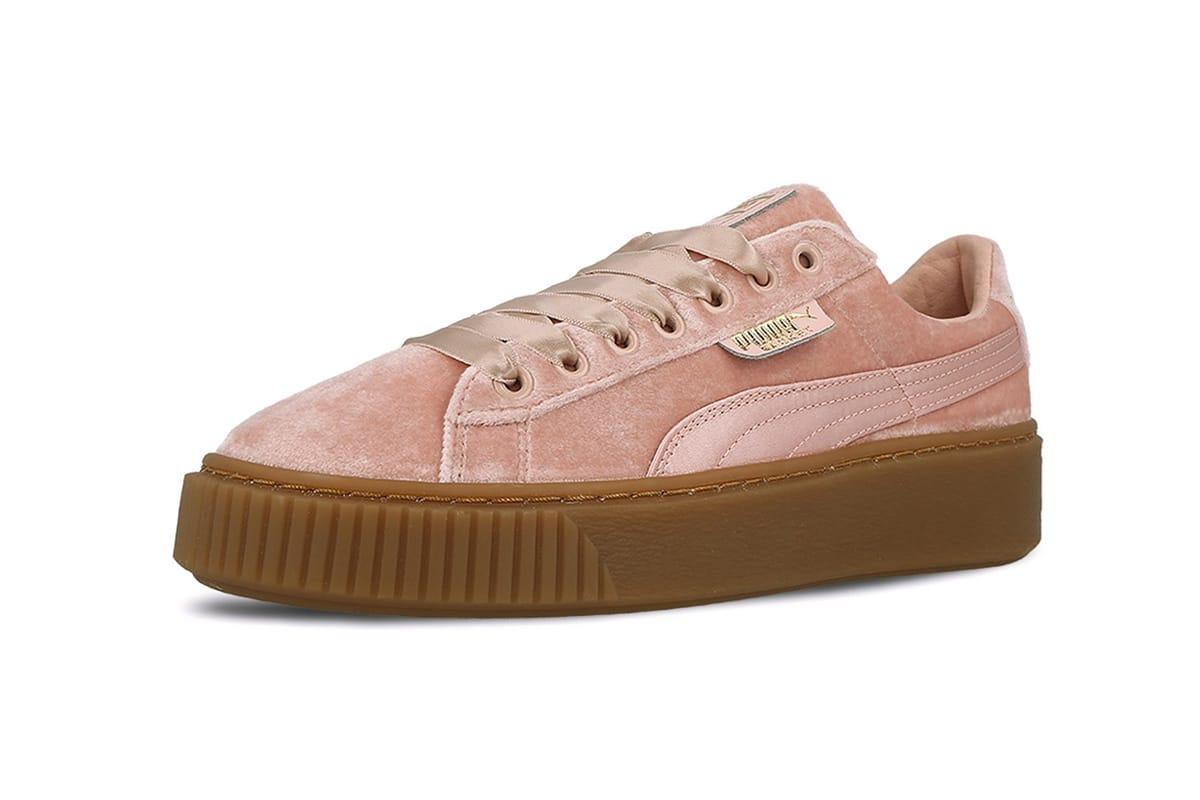PUMA Basket Platform in Pink Velvet and