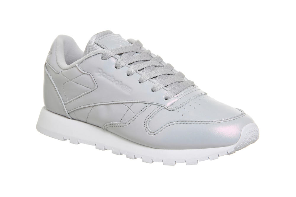 Reebok classic leather pearlised grey iridescent shiny sneaker