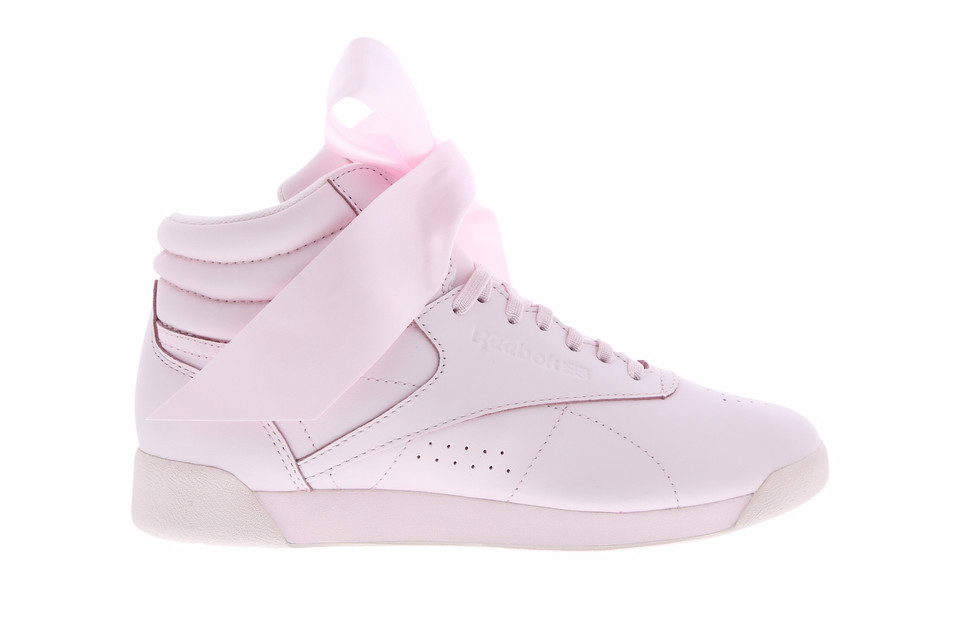 6b25f0c0f92 Reebok Freestyle Hi Topped With Pink Satin Bow