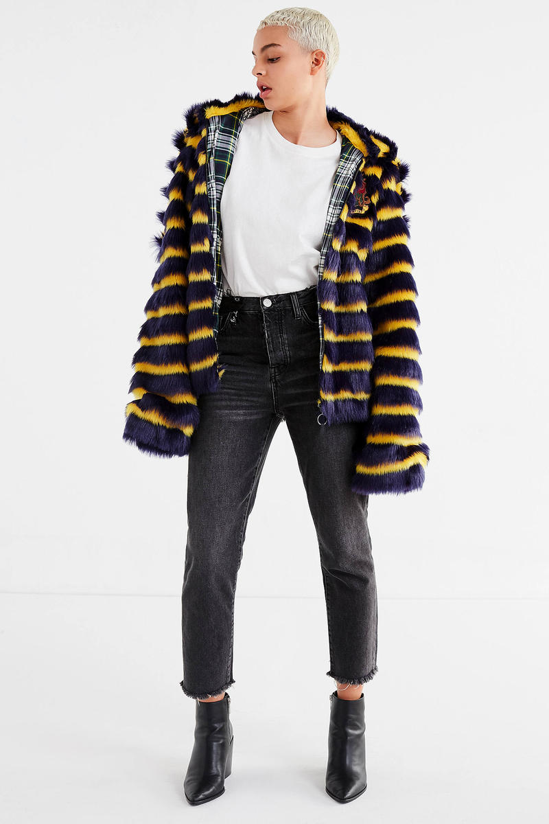 Fenty PUMA by Rihanna Striped Faux Fur Jacket Blue Yellow Statement Winter Outerwear Urban Outfitters Coat