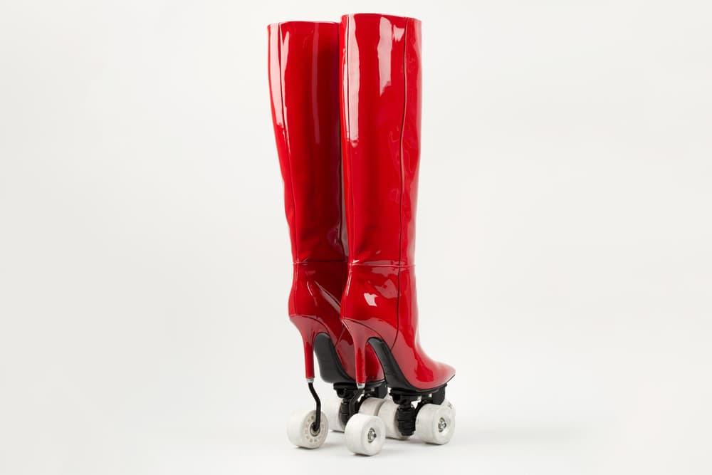 Saint Laurent colette Rollerblade Heels Boots Red Black Skate