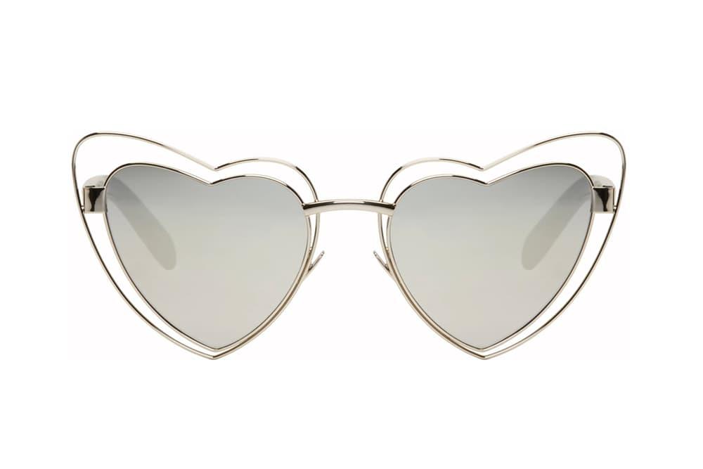 Saint Laurent Lou Lou Cut-Out Sunglasses Black Silver White Ivory