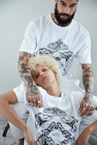 "Sang Bleu ""The Day I Met You"" Capsule Collection Prints Bold Typography Champion Nike Butterfly Writing"