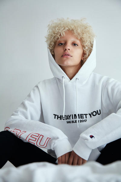 """Sang Bleu """"The Day I Met You"""" Capsule Collection Prints Bold Typography Champion Nike Butterfly Writing"""