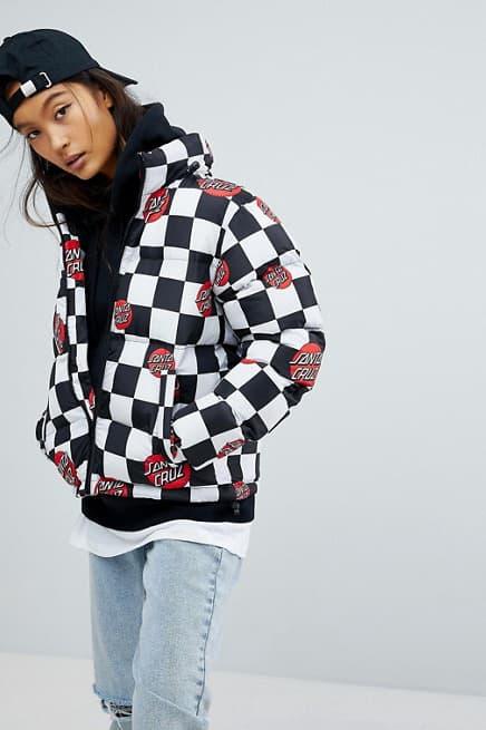 Santa Cruz womens checkerboard padded puffer jacket logo