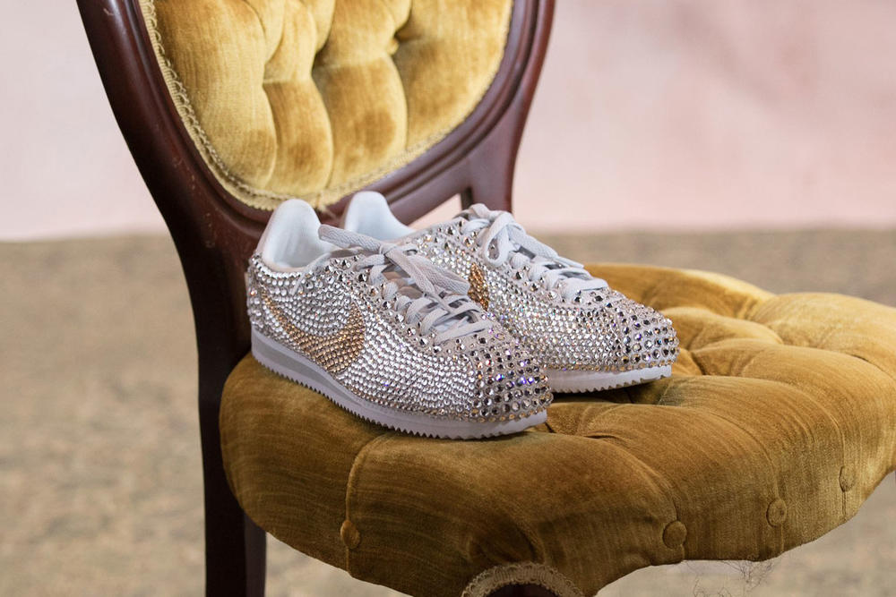 Serena Williams Vogue Wedding Nike Cortez Sneakers Jewel Glitter Bedazzled Custom Made Shoes