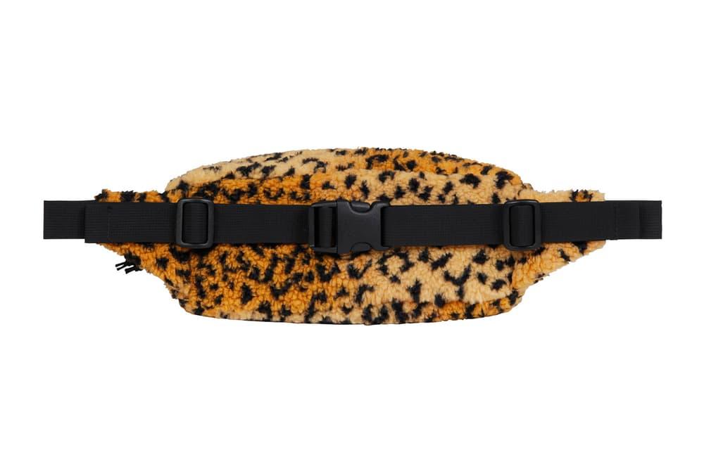 Supreme Leopard Fleece Backpack Waist Bag Red Brown Grey