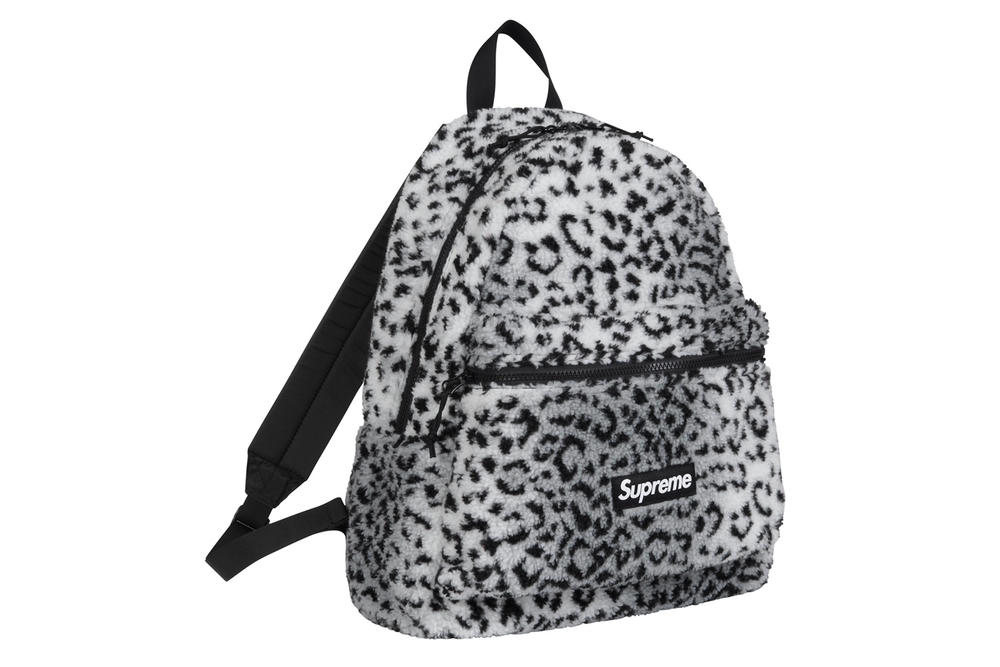 Supreme Leopard Fleece Backpack Waist Bag Red Brown Grey