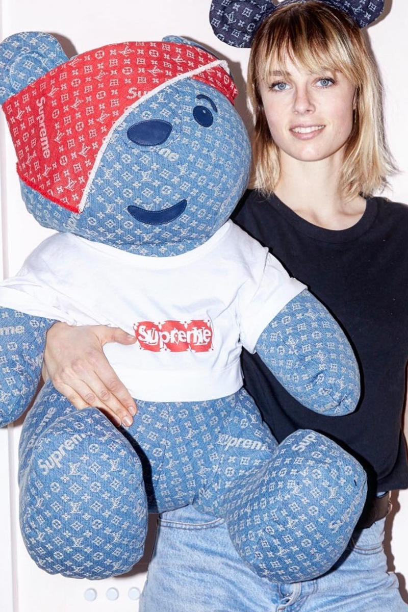 Supreme Louis Vuitton Denim Teddy Bear Exclusive One of A Kind Item Charity Auction Stuffed Animal Collaboration