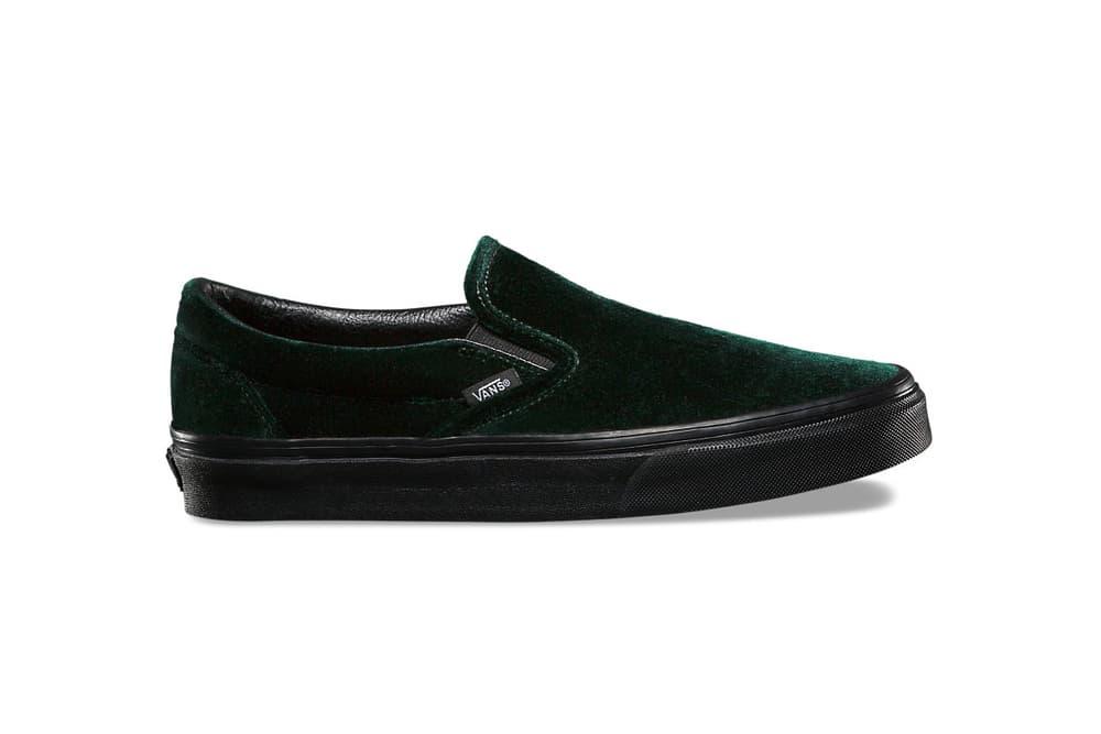 Vans Holiday 2017 Velvet Pack Sk8 Hi Slip On Old Skool Black Green Burgundy Blue