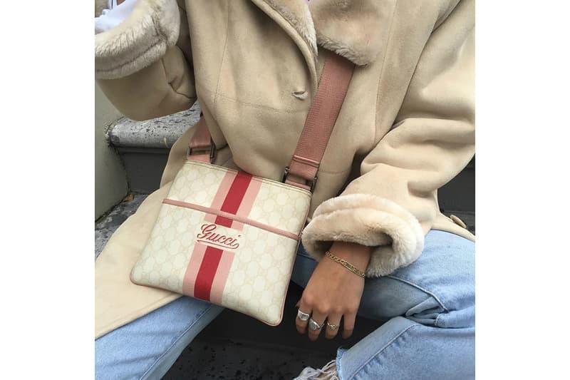 Gucci Logo Monogram Pink Vintage Designer Handbag Bag Fashion Accessory