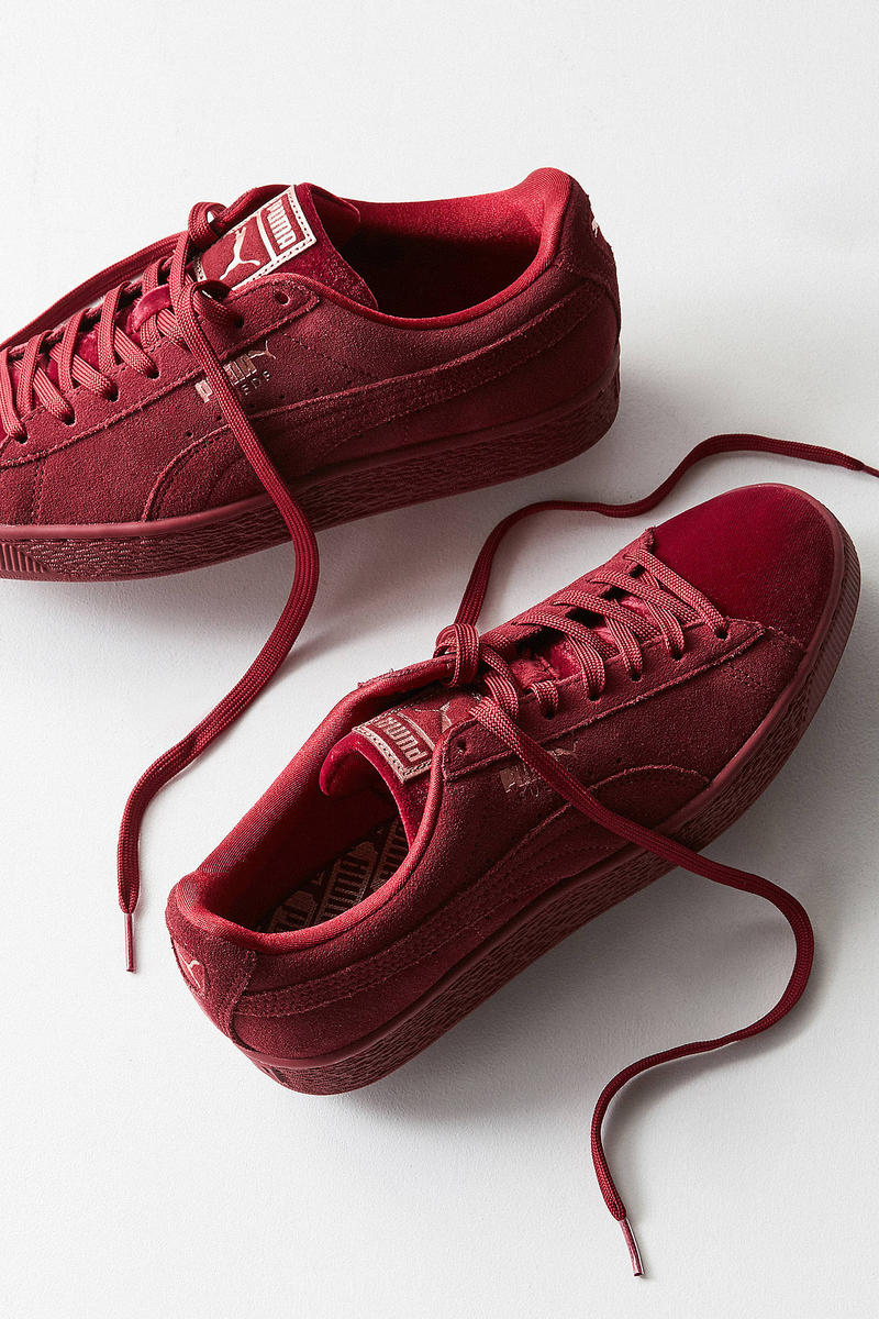 PUMA Suede Classic Velvet Maroon Red Urban Outfitters Classic Shoe Sneaker Silhouette Burgundy Simple Holiday Christmas
