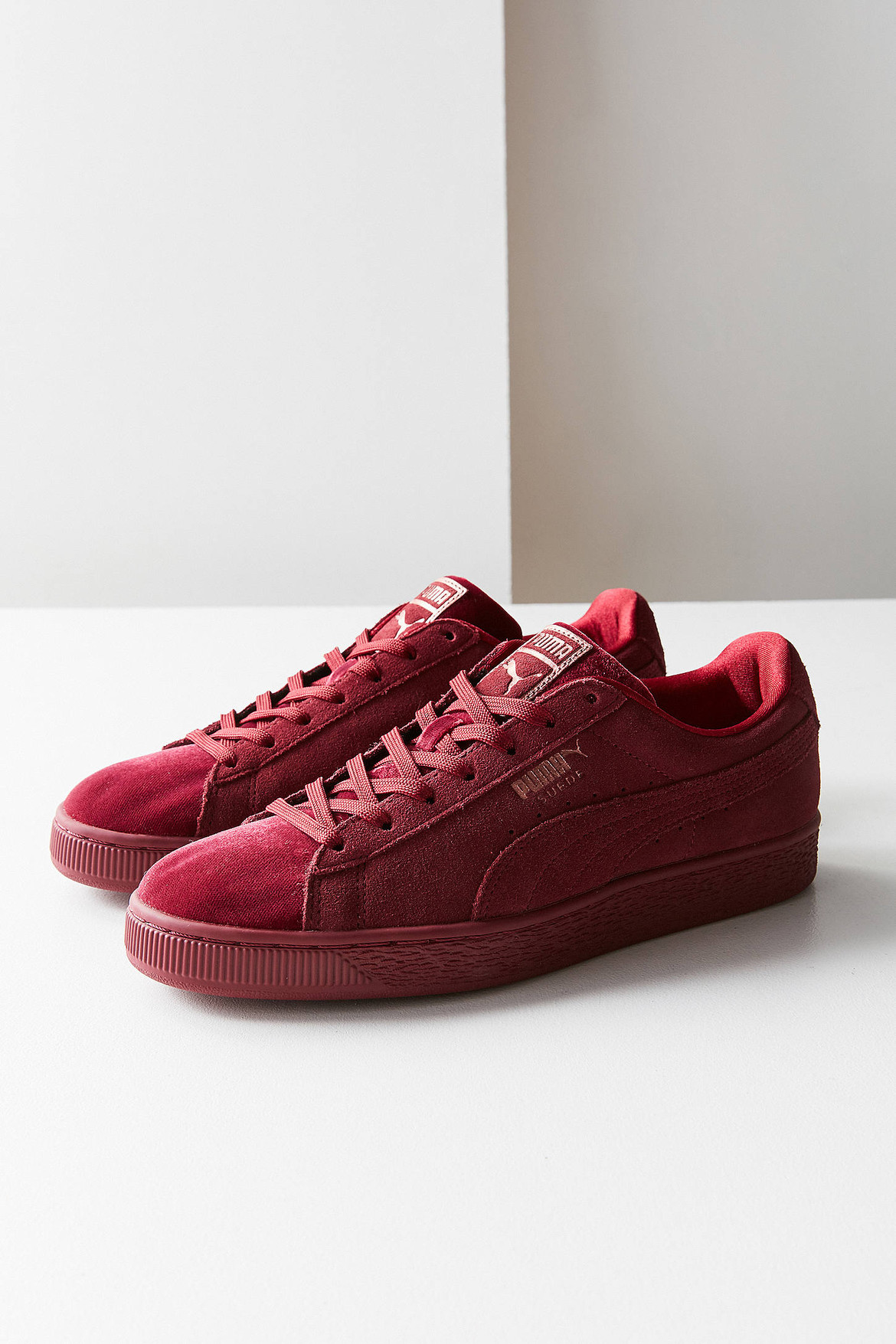 the latest 0aba1 0c54e PUMA's Suede Classic Velvet in Maroon Red | HYPEBAE