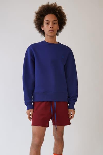 Acne Studios Fairview Crewneck Sweatshirt Beige Pink Green Blue Black Grey Smiley Face Detail Simple