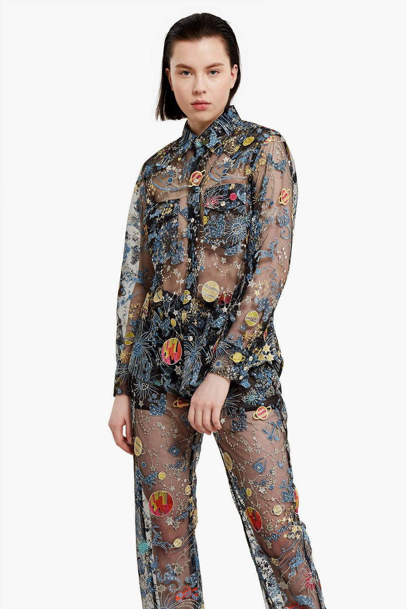 Adam Selman Astro Embroidered Tulle Sheer Jeans Jacket Shirt