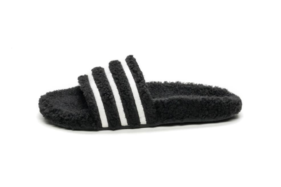 adidas Adilette Teddy Shearling Slide Mesa Black