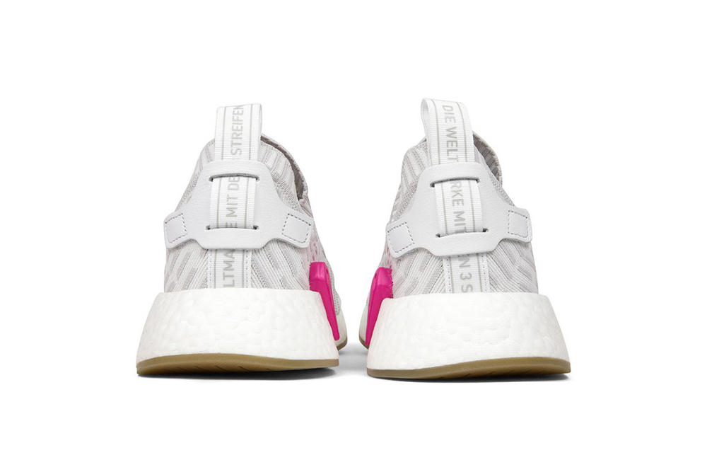adidas Originals NMD R2 Primeknit Pink White Detail Sneaker Shoe Silhouette Gum Sole