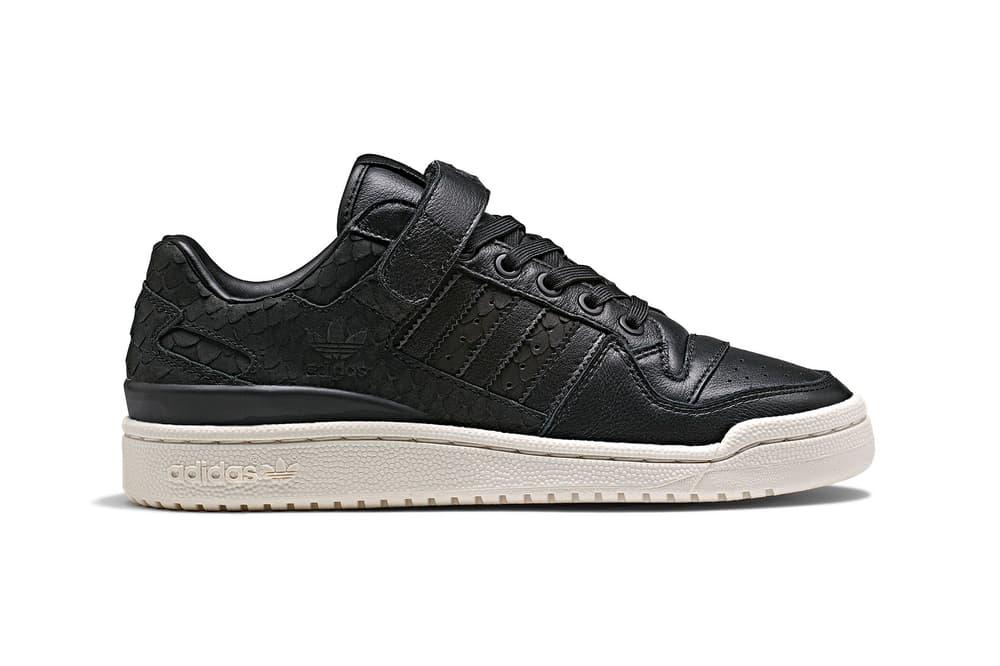 adidas originals womens ladies sneakers forum lo snakeskin black white luxe snake