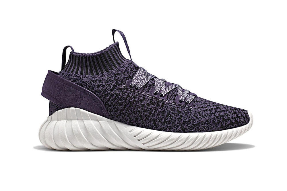 8d247a7bbdb3 adidas Tubular Doom Soc Trace Purple Core White Sneaker Knit Sock Silhouette