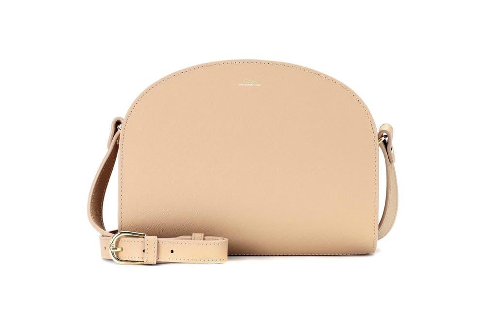 A.P.C. Demi-Lune Leather Shoulder Bag Beige