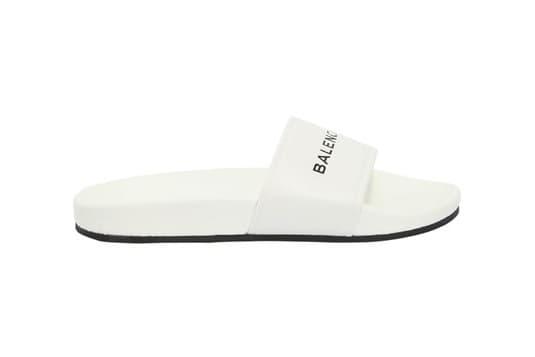 Balenciaga 10MM Piscine Logo Leather Slide White