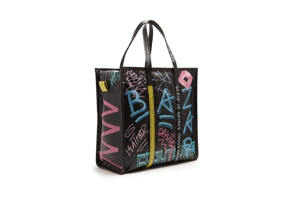 Balenciaga Bazar M shopper bag leather metallic graffiti print
