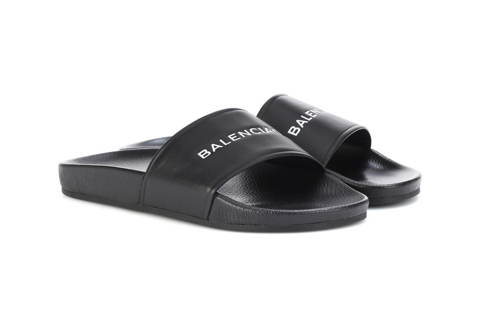 balenciaga black leather slides