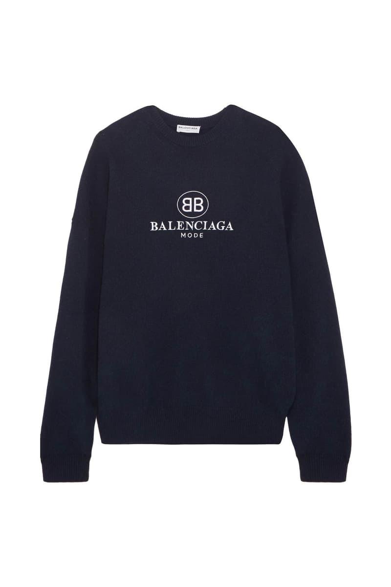 Balenciaga Embroidered Logo Sweater Navy Blue Demna Gvasalia