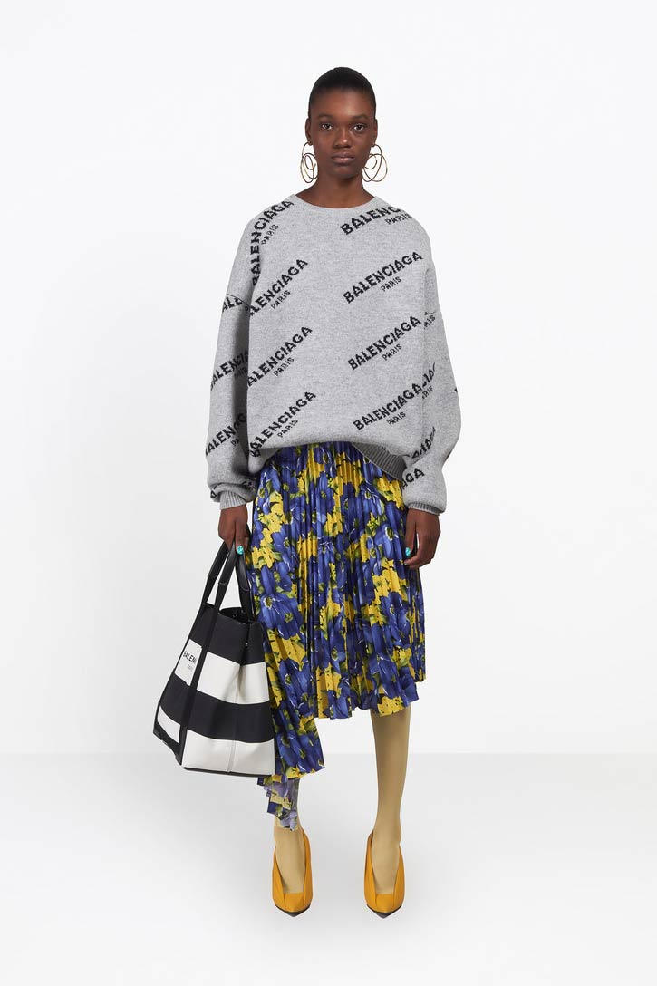 Balenciaga Jacquard Logo Crewneck Sweater Gray