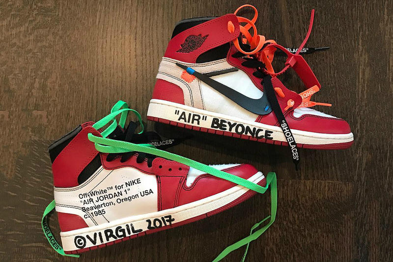 54ad3a95b7c Beyoncé Virgil Abloh Off White Nike Air Jordan 1 Custom Present Chicago Red  White Black Instagram