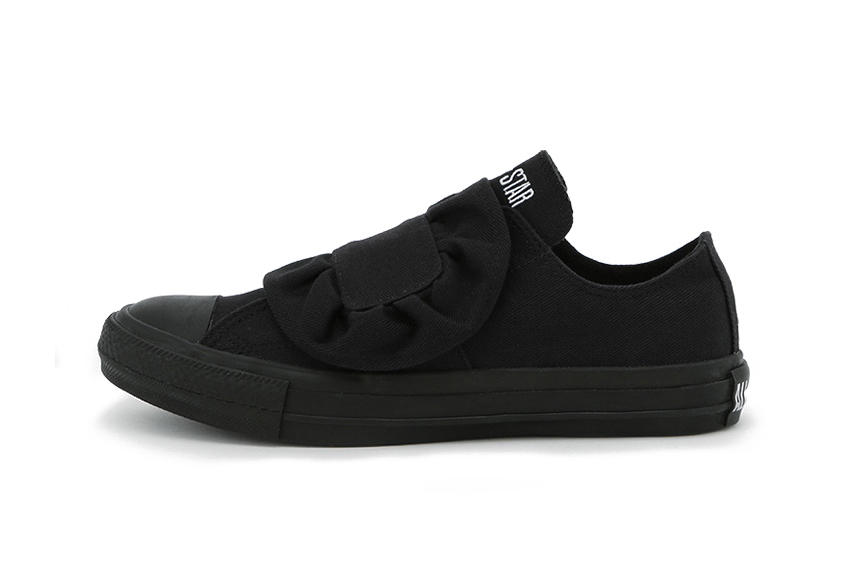 Converse All Star Low Ruffle Black White Canvas Classic Silhouette Sneaker Shoe