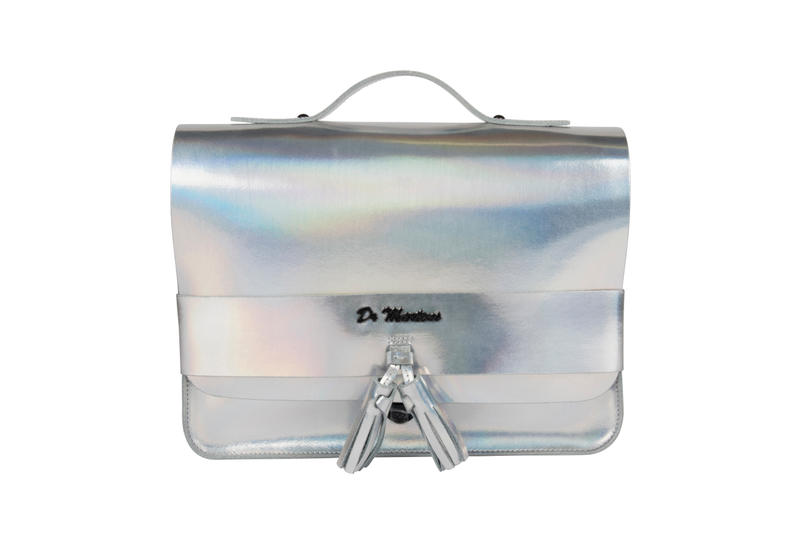 """Dr. Martens """"Iced Metallic"""" Leather Satchel Bags Mallow Pink Lazer Silver White Holographic Classic Disco"""