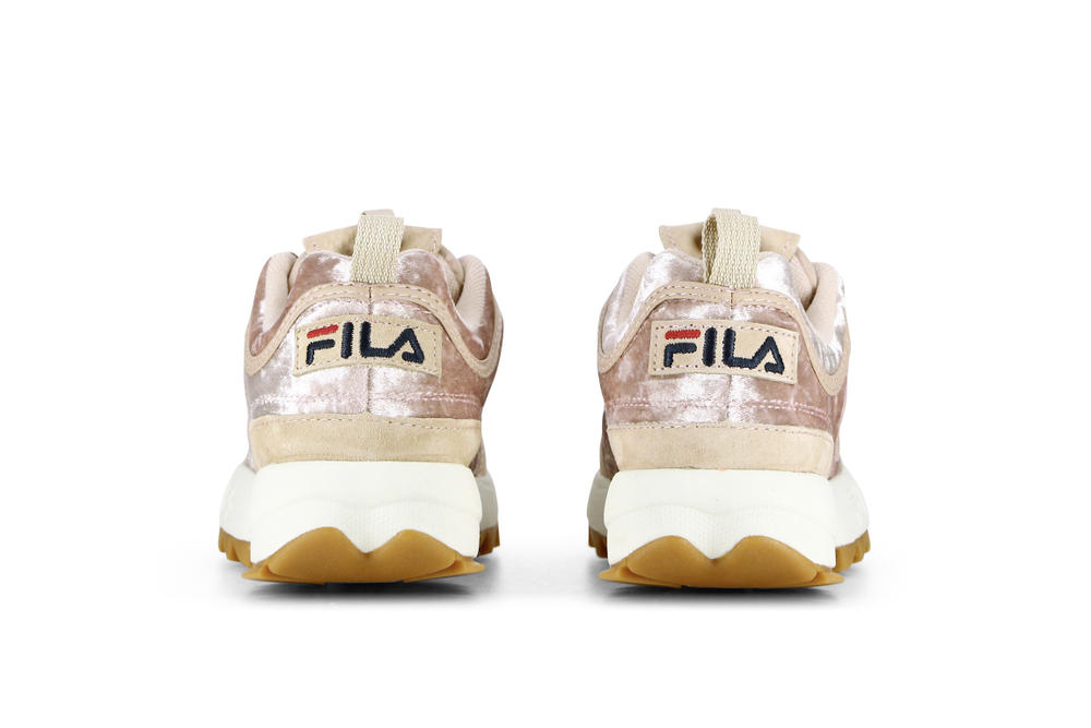b6760f44bcd4 FILA Disruptor Velvet Satin Burgundy Pink Colorway Sneaker Chunky Dad Shoe  Runner White Gum Sole