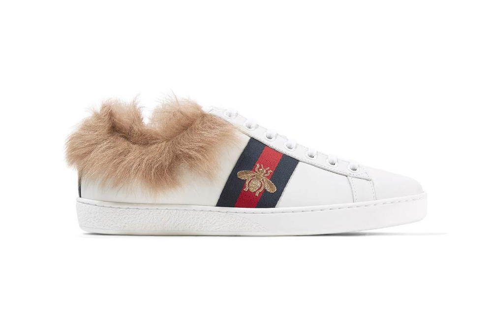 3c7080006fe77 Gucci Adds Shearling to the Ace Leather Sneaker