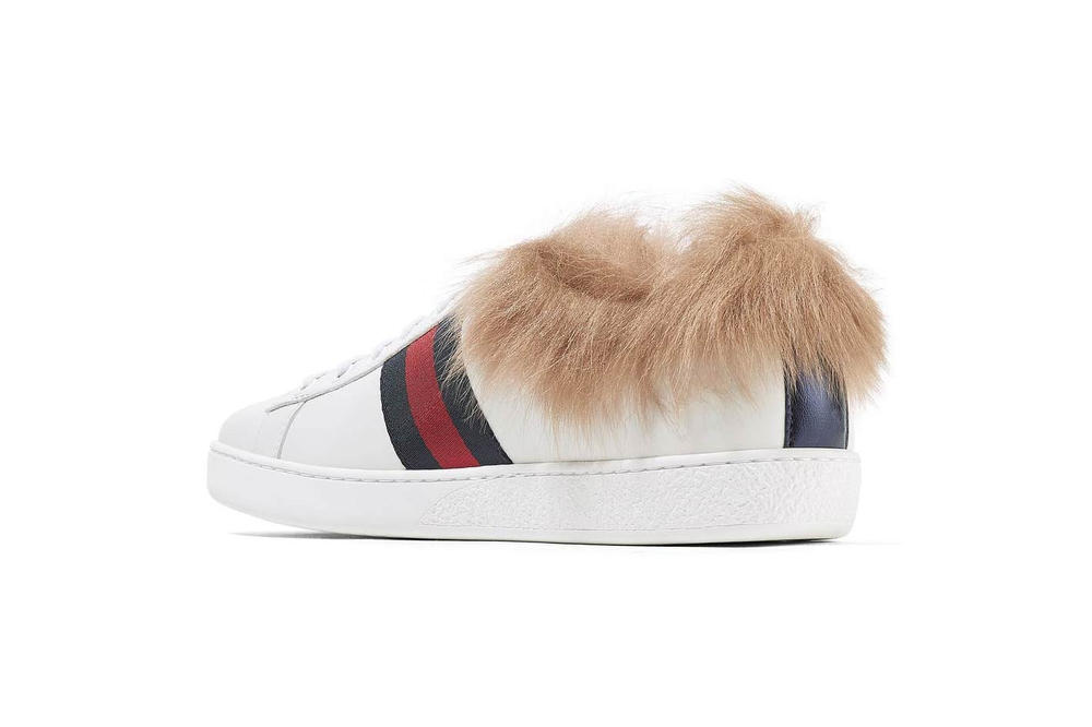 Gucci Ace Shearling Leather Sneaker