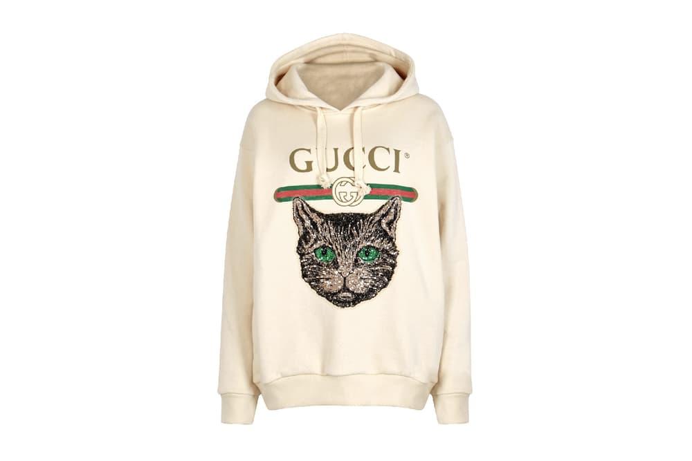 Gucci embellished cat logo print hoodie sweatshirt