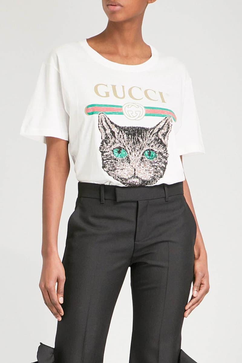 Gucci Embellished Cat Motif T-Shirt