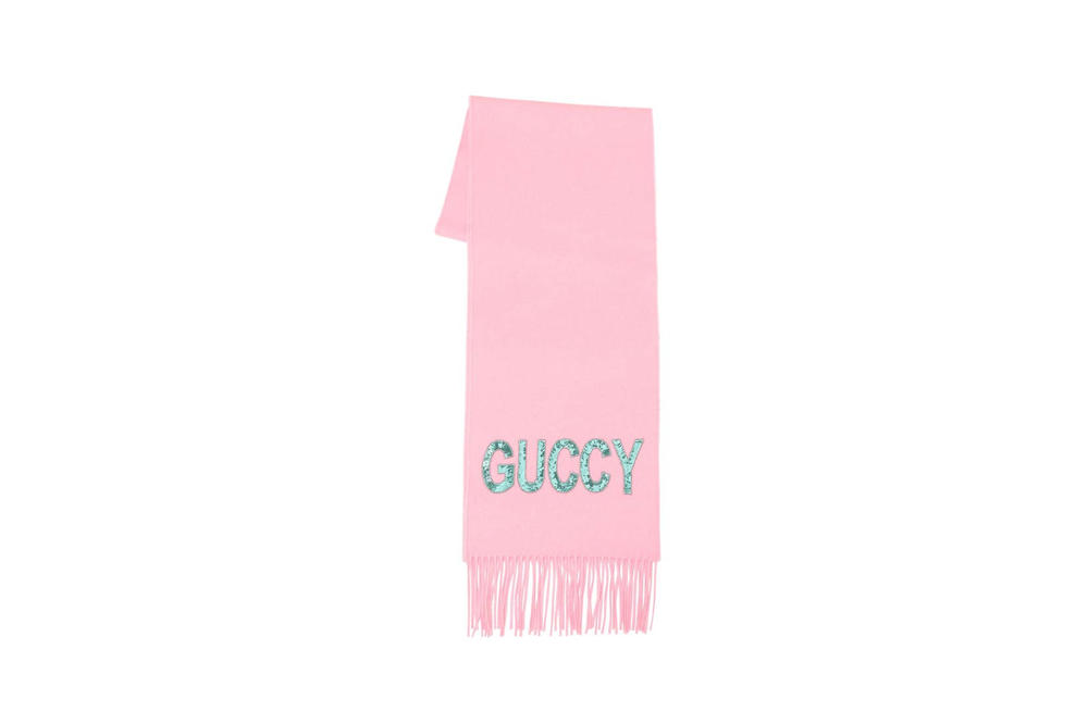 Gucci Guccy Cashmere Mix Scarf Pink