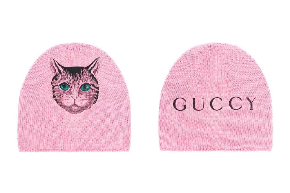 Gucci guccy bootleg millennial pink pastel beanie hat cat print