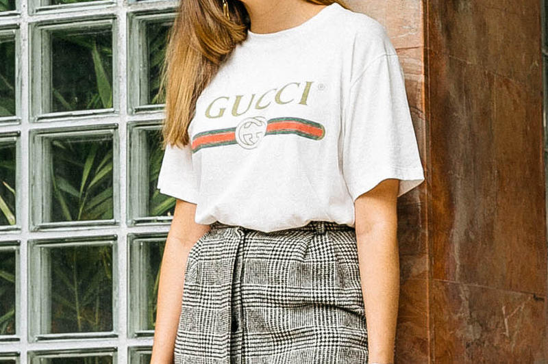 Gucci Vintage Logo Print Tshirt Tee MATCHESFASHION Red Green Gold Blue Floral Applique Style Blogger 2017 Restock