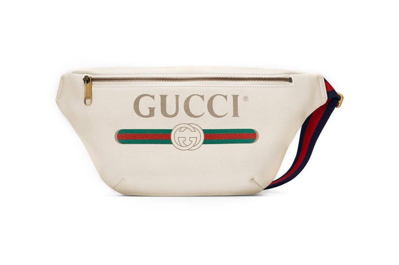 Gucci Print Leather Belt Bag Drawstring Backpack Portfolio White