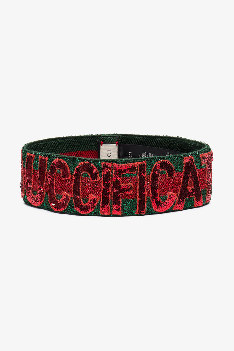 gucci sequin headband guccification green red stretch