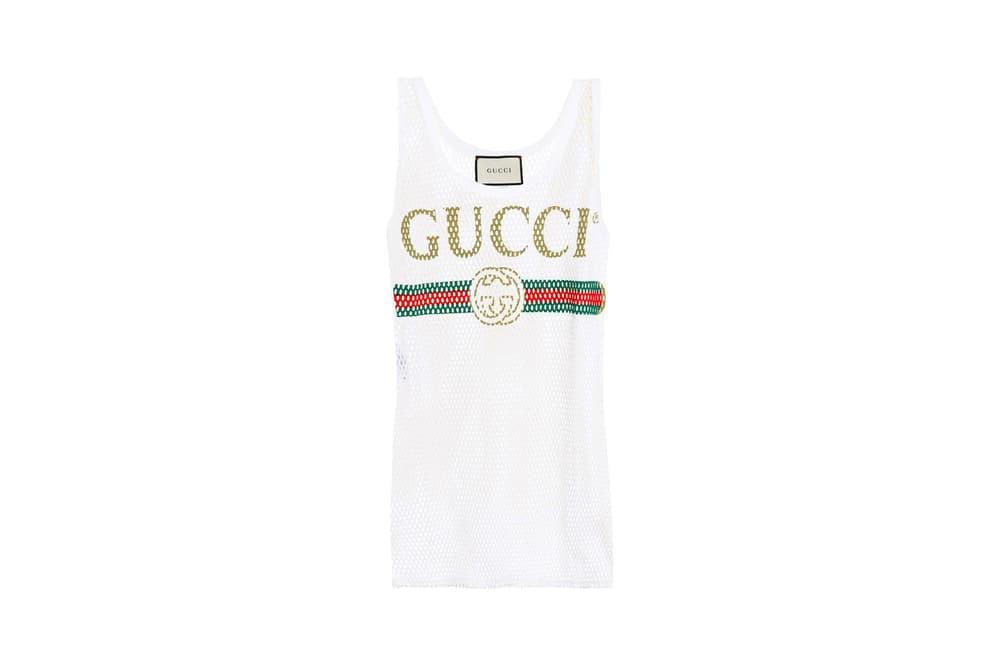 Gucci Vintage Logo Mesh Cotton Tank Top