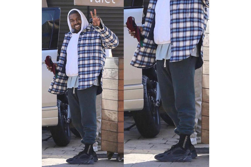 Kanye West Debuts Black YEEZY Wave Runner 700 Sneaker Silhouette Shoe Unreleased