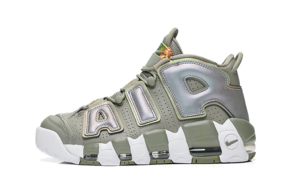 nike air more uptempo womens ladies olive green dark stucco holographic