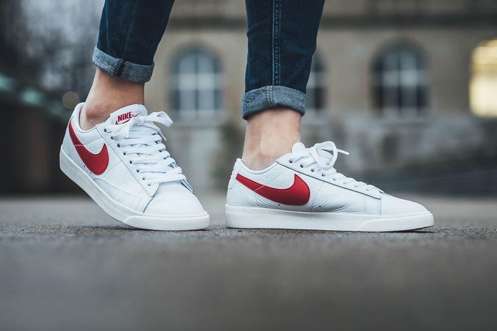 Nike Blazer Low Premium white gym red sail womens sneaker