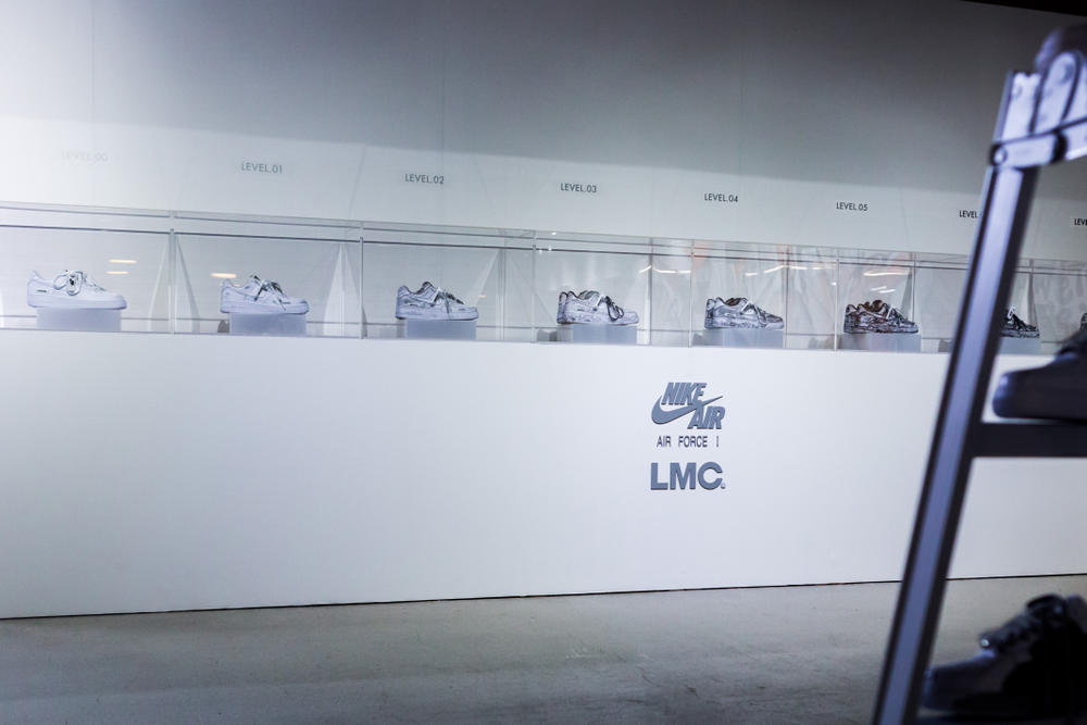 LMC Customized Nike Air Force 1 Battle Force Sneakers Shoes Silhouette White Streetwear Tags Design Limited Event Workshop