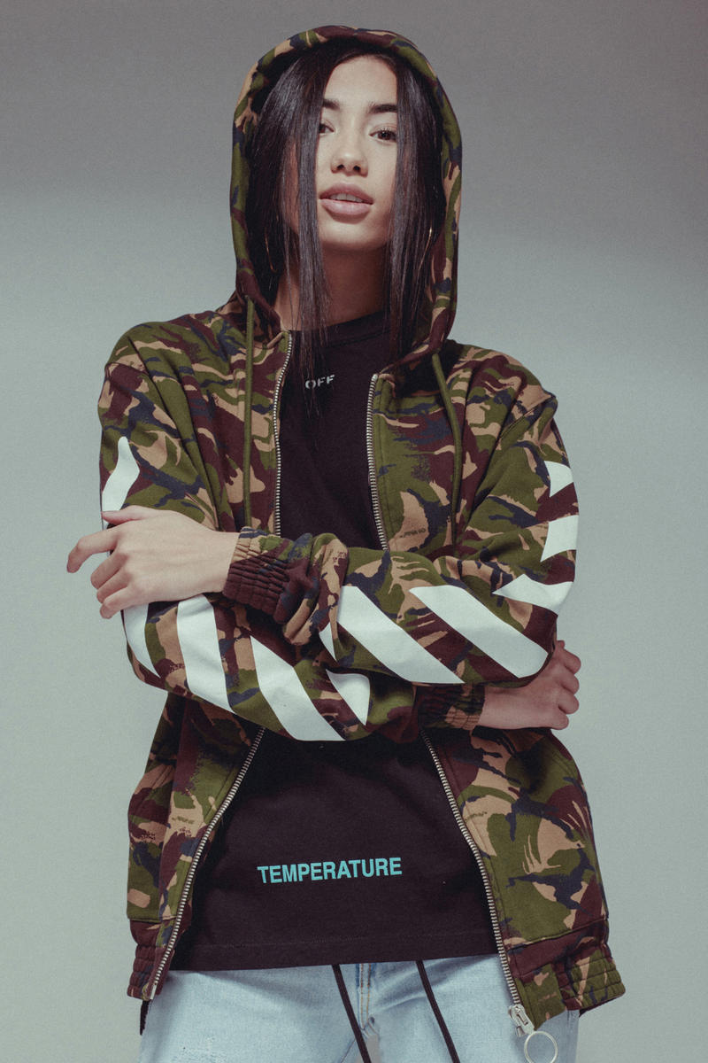 Off White virgil abloh temperature champion firetape fall winter 2017 collection where to buy