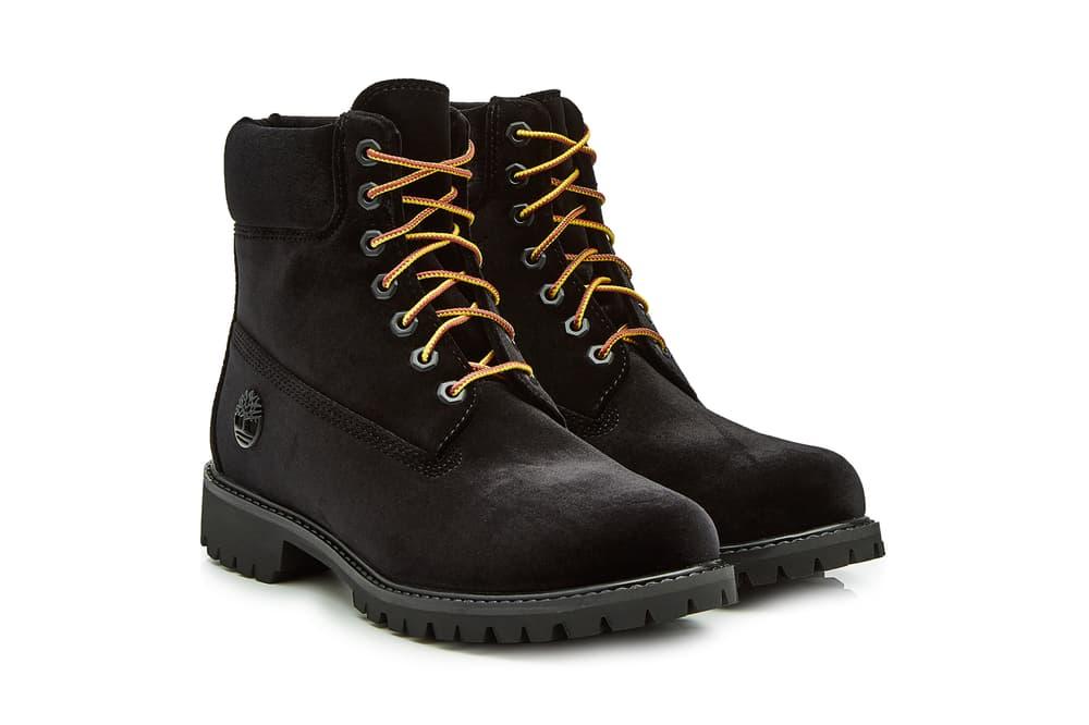 Off-White Timberland Velour Velvet Boots Black Brown Stylebop